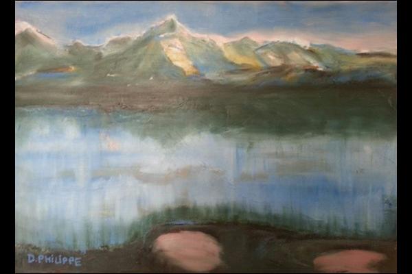 Mont blanc au couchant, 50x30