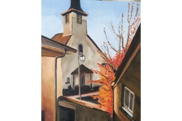 Lonay, place de l'église, 55x45