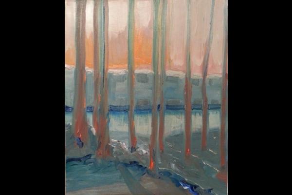 Ciel chaud sur lac froid 46x46