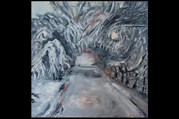 Chemin sous la neige, 50x50