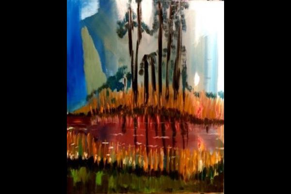 L'Etang du bois Foretaille, soir, 55x45